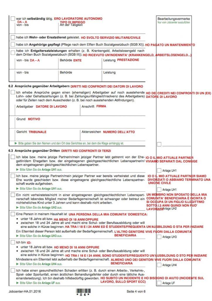 Moduli per la richiesta di sussidio sociale (Hartz IV o ALG II) in italiano 4
