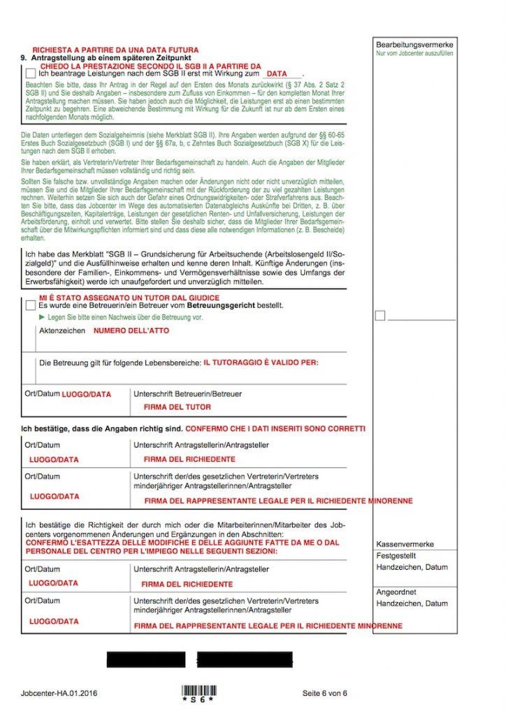 Moduli per la richiesta di sussidio sociale (Hartz IV o ALG II) in italiano 6