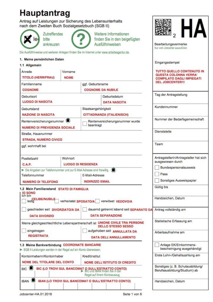 Moduli per la richiesta di sussidio sociale (Hartz IV o ALG II) in italiano 1