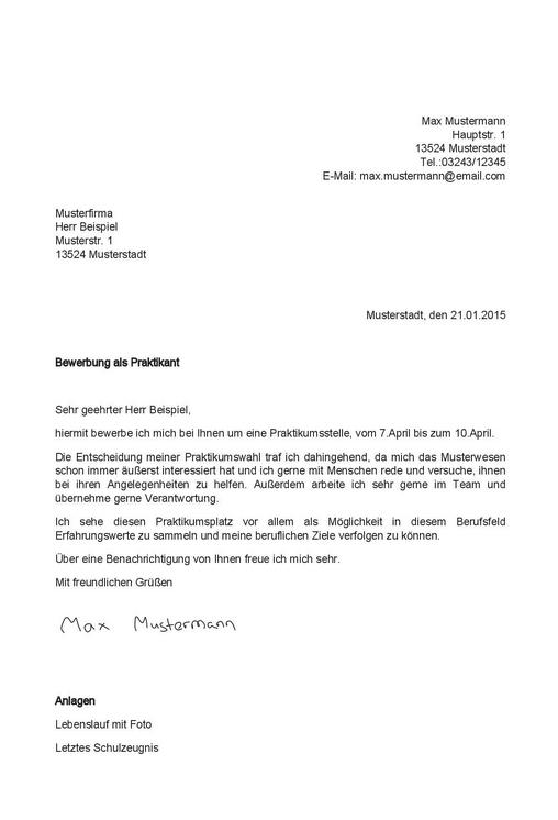 lettera presentazione tedesco